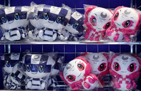 Dolls of Tokyo 2020 Olympic Games mascot Miraitowa and Paralympic mascot Someity are displayed at the mascot house in Tokyo, Japan, July 22, 2018. REUTERS/Kim Kyung-Hoon