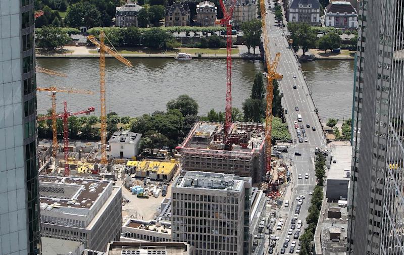 An overview taken from the top of Frankfurt's Maintower shows ongoing construction along the bank of the river Main in western Germany, on June 26, 2014