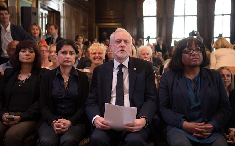 Shami Chakrabarti, second left, was enobled after her inquiry into Labour anti-Semitism - Getty Images Europe