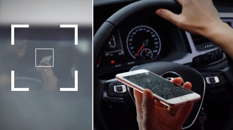The mobile phone detection cameras use artificial technology to catch people on their phone. Source: NSW Transport.