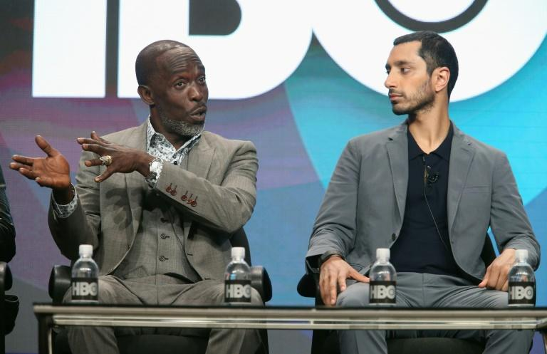 Actors Michael Kenneth Williams and Riz Ahmed (R) speak onstage at the HBO portion of the 2016 Television Critics Association Summer Tour