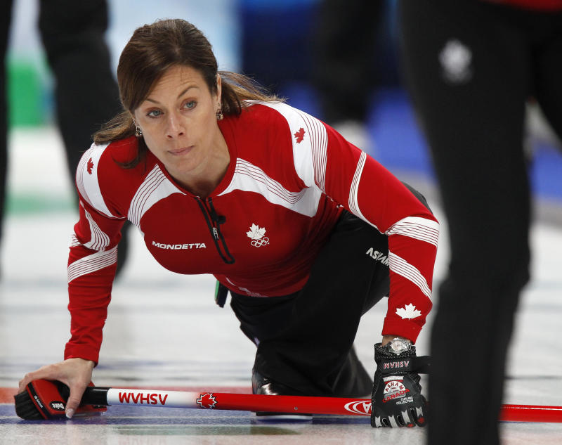 Cheryl Bernard of Canada watches her shot during the women's round robin curling event against Britain at the Vancouver 2010 Winter Olympics. (Chris Helgren/Reuters)