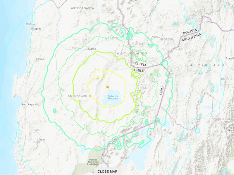 An earthquake struck northern Chile on the morning of 3 June, 2020: USGS