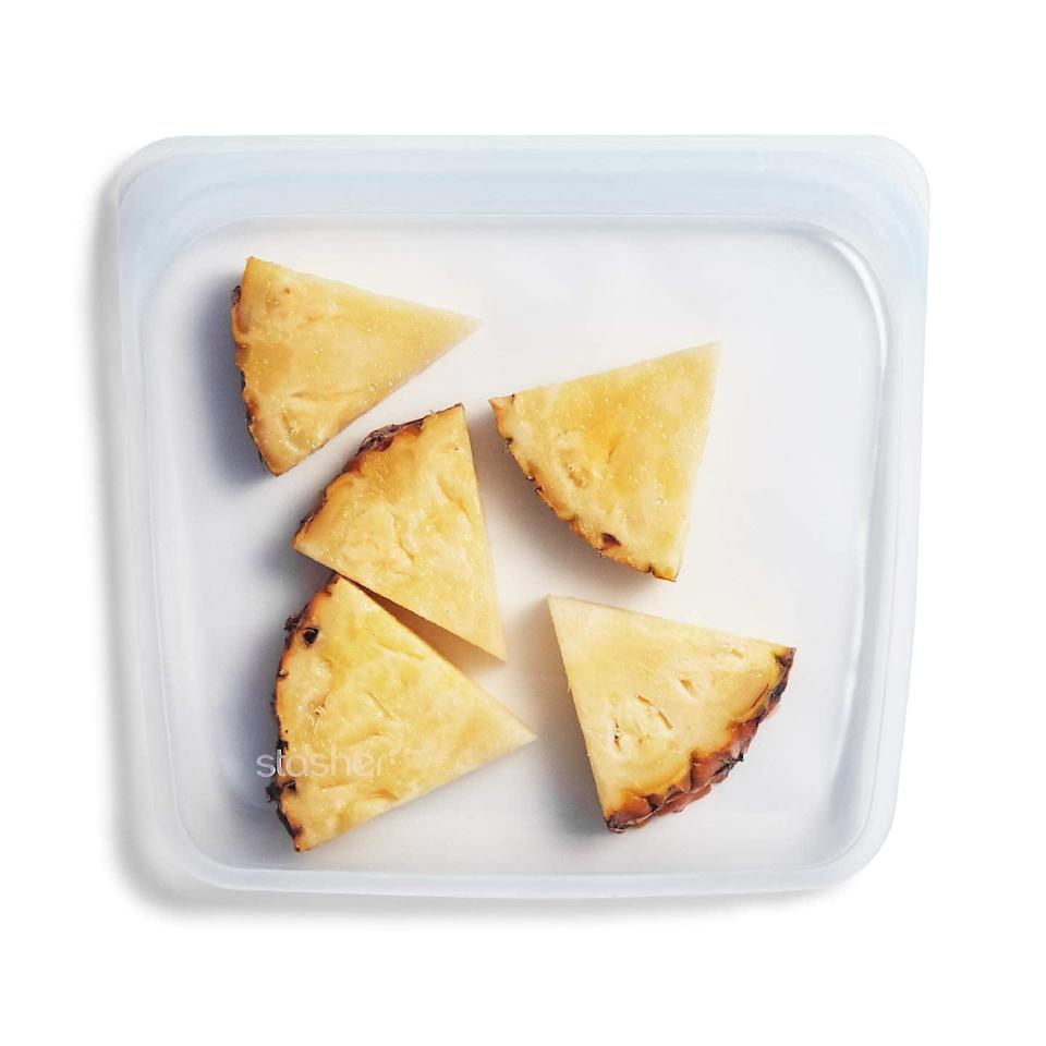 """<p>These useful <a href=""""https://www.popsugar.com/buy/Stasher-100-Silicone-Reusable-Food-Bags-475867?p_name=Stasher%20100%25%20Silicone%20Reusable%20Food%20Bags&retailer=amazon.com&pid=475867&price=12&evar1=yum%3Aus&evar9=46457983&evar98=https%3A%2F%2Fwww.popsugar.com%2Fphoto-gallery%2F46457983%2Fimage%2F46458002%2FStasher-100-Silicone-Reusable-Food-Bags&list1=shopping%2Cfood%20storage%2Ckitchen%20accessories&prop13=api&pdata=1"""" class=""""link rapid-noclick-resp"""" rel=""""nofollow noopener"""" target=""""_blank"""" data-ylk=""""slk:Stasher 100% Silicone Reusable Food Bags"""">Stasher 100% Silicone Reusable Food Bags</a> ($12) are great for keeping produce and food fresh on the go.</p>"""
