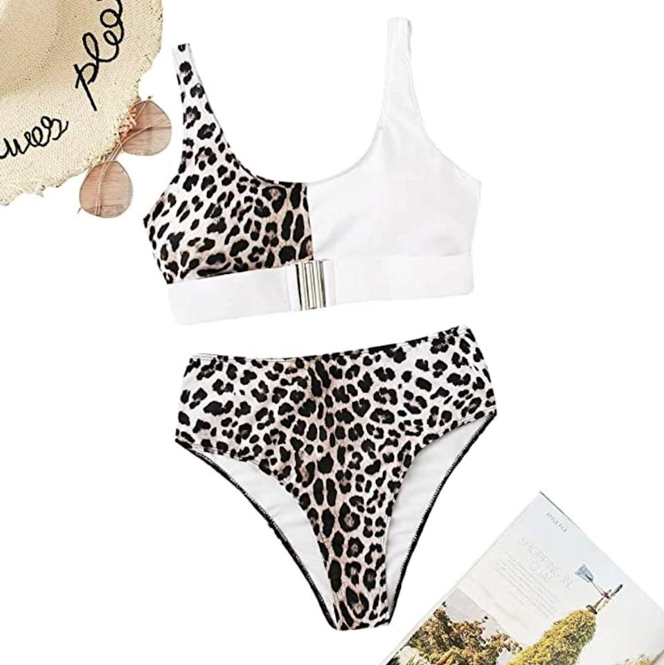 <p>All eyes will be on you in this <span>Floerns Leopard High-Waist Buckle Bikini</span> ($20 - $27).</p>