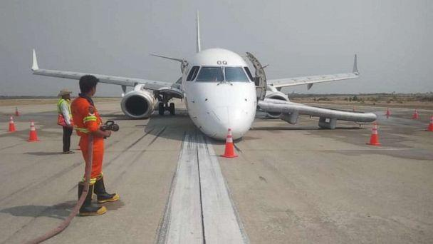 PHOTO: A Myanmar National Airlines flight to Mandalay International Airport landed without its front landing gear on Sunday, May 12, 2019. No one on the plane was injured. (Myanmar National Airlines)