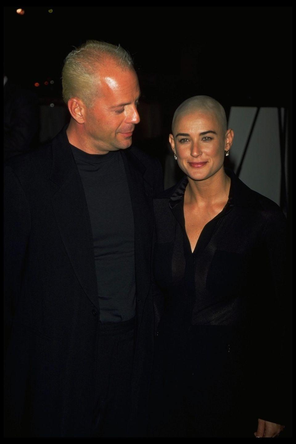 <p>For her role in the film <em>G.I. Jane</em>, the actress not only had to gain loads of muscle, but she also completely shaved her head. If anyone could pull it off though, it was Demi.</p>