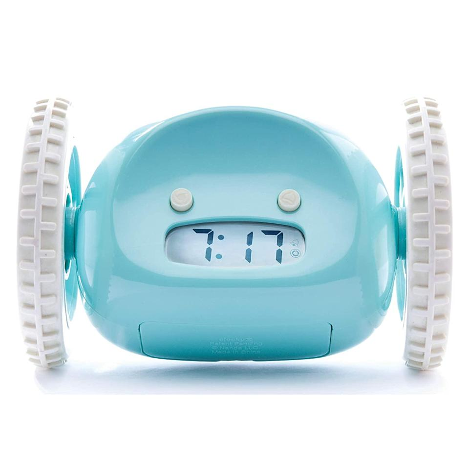 """<h2>Clocky Alarm Clock on Wheels</h2><br>The alarm clock is nobody's favorite household object, but when it's this cute and naughty, it will certainly return to everyone's good graces.<br><br><strong>Clocky</strong> Alarm Clock on Wheels, $, available at <a href=""""https://www.amazon.com/dp/B000TAS9XQ"""" rel=""""nofollow noopener"""" target=""""_blank"""" data-ylk=""""slk:Amazon"""" class=""""link rapid-noclick-resp"""">Amazon</a>"""