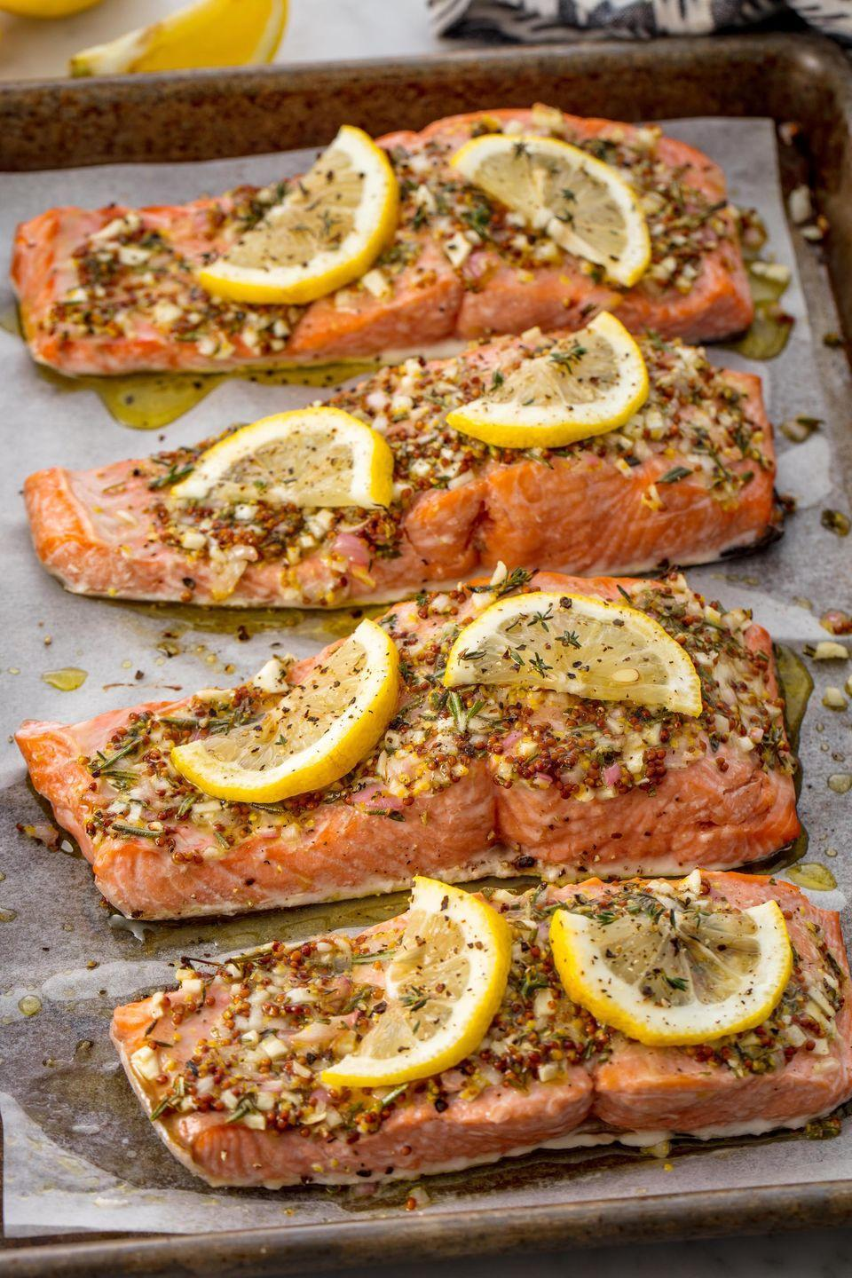 """<p>An extremely addicting and easy salmon recipe for your arsenal.</p><p>Get the recipe from <a href=""""https://www.delish.com/cooking/recipe-ideas/recipes/a55654/best-broiled-salmon-recipe/"""" rel=""""nofollow noopener"""" target=""""_blank"""" data-ylk=""""slk:Delish"""" class=""""link rapid-noclick-resp"""">Delish</a>. </p>"""