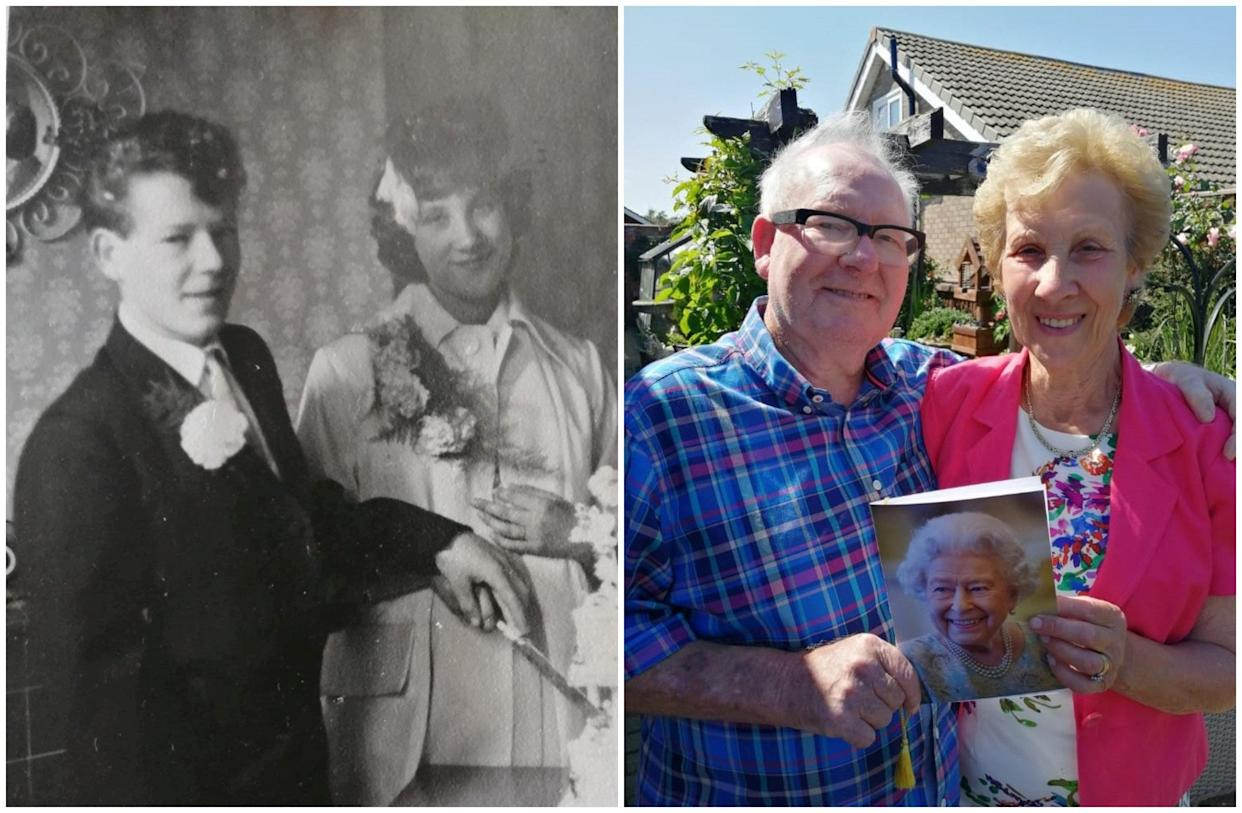 Lynn and Bert celebrated 60 years of marraige. See SWNS story SWLEanniversary; A bride who married the love of her of life on her 16th birthday as it was the earliest they could wed has celebrated 60 years of bliss with her husband.  Lynne Woolliss, 76, and hubby Bert, 77, are two of the youngest people in the country to mark their diamond wedding anniversary having met as teenagers. The couple celebrated their diamond anniversary at their home in Cleethorpes, Lincs., on Saturday (July 17) surrounded by their family and were 'chuffed' to receive a card from the Queen.  They met way back in 1959 when he kept looking at her when they were at school and she 'wondered if something was wrong with him'.