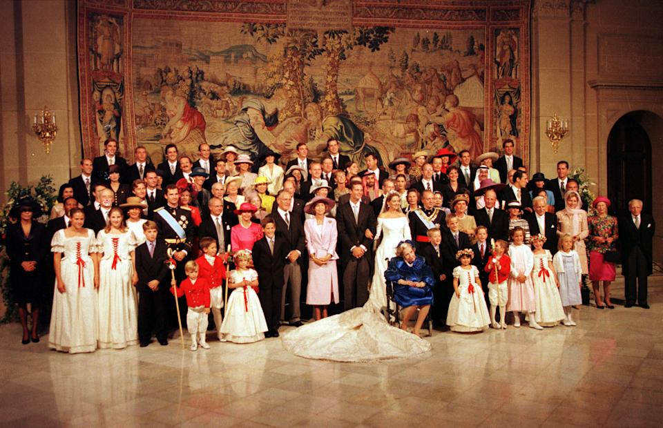 Spanish Infanta Cristina and her husband I?aki Urdangarin pose with members of the royals families invited to their wedding on October 4. Princess Cristina married Olympic handball star Urdangarin inside a majestic Gothic cathedral filled with royalty from around the world.  SPAIN WEDDING