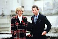<p>On an official trip to France, Diana and Charles pose outside Chateau de Chambord on November 9, 1988.</p>