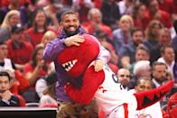 Rapper Drake attends game three of the NBA Eastern Conference Finals between the Milwaukee Bucks and the Toronto Raptors at Scotiabank Arena on May 19, 2019 in Toronto, Canada. (Photo by Gregory Shamus/Getty Images)