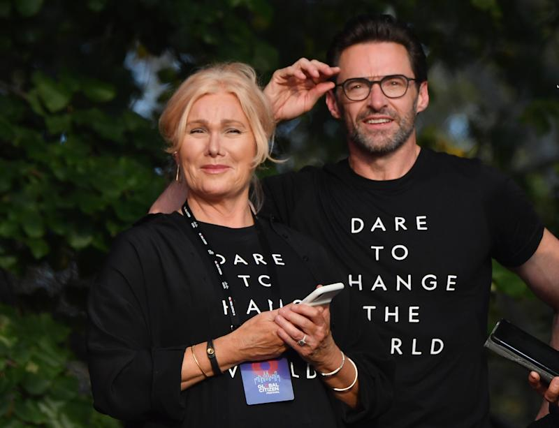 Australian actress Deborra-Lee Furness (L) and husband Australian actor Hugh Jackman look on onstage at the 2019 Global Citizen Festival: Power The Movement in Central Park in New York on September 28, 2019. (Photo by Angela Weiss / AFP) (Photo credit should read ANGELA WEISS/AFP/Getty Images)