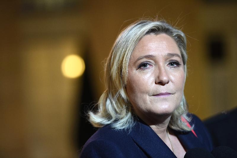 "French Far-right party Front National leader Marine Le Pen, pictured on November 15, 2015, called for an ""immediate halt"" to new migrant arrivals (AFP Photo/Stephane de Sakutin)"