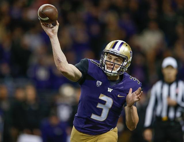 "<a class=""link rapid-noclick-resp"" href=""/ncaaf/players/251118/"" data-ylk=""slk:Jake Browning"">Jake Browning</a> threw for 43 touchdowns and threw just 9 interceptions in 2016. (Getty)"