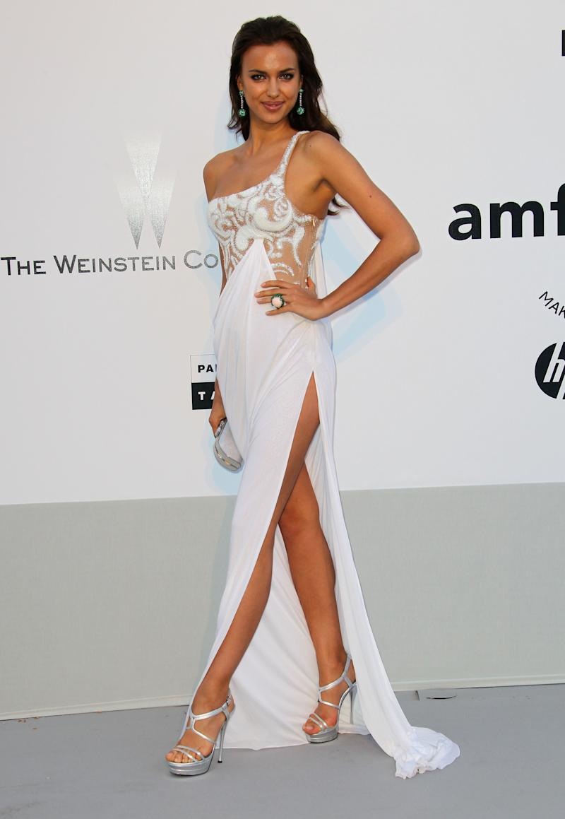 At amfAR's Cinema Against AIDS Gala during the 2011 Annual Cannes Film Festival, Shayk wore a Grecian-inspired white gown.