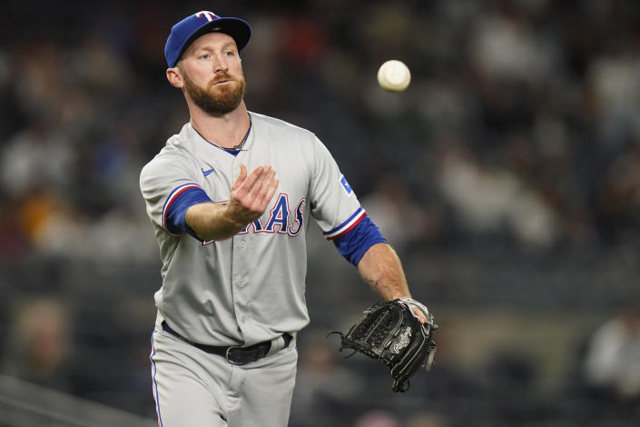 Texas Rangers relief pitcher Spencer Patton throws out New York Yankees' Gio Urshela at first base during the eighth inning of a baseball game Monday, Sept. 20, 2021, in New York. (AP Photo/Frank Franklin II)