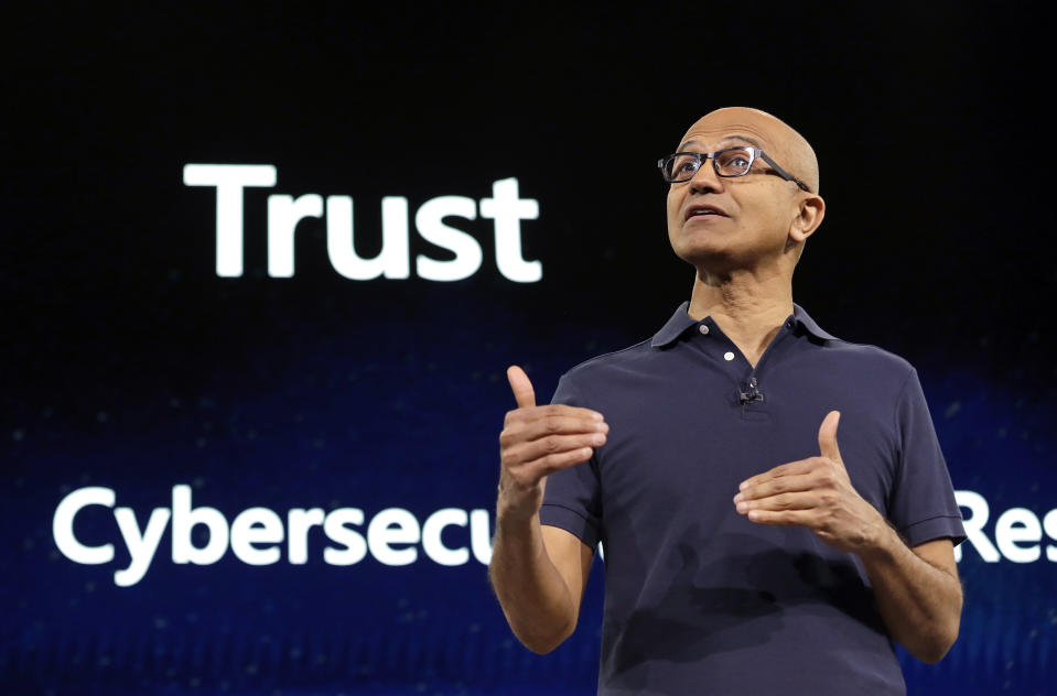 FILE - In this May 6, 2019, file photo Microsoft CEO Satya Nadella delivers the keynote address at Build, the company's annual conference for software developers in Seattle. Microsoft says it has detected more than 740 infiltration attempts by nation-state actors in the past year targeting U.S.-based political parties, campaigns and other democracy-focused organizations including think tanks and other non-profits. (AP Photo/Elaine Thompson, File)