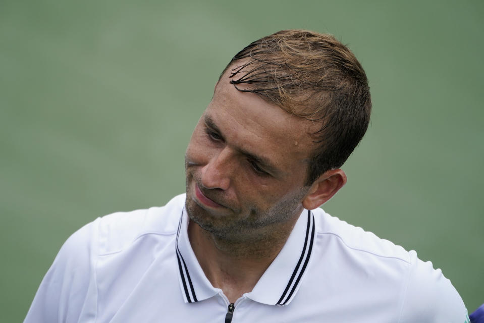 Daniel Evans, of the United Kingdom, reacts after losing a point to Thiago Monteiro, of Brazil, during the first round of the US Open tennis championships, Monday, Aug. 30, 2021, in New York. (AP Photo/John Minchillo)