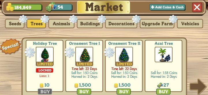 Farmville holiday tree replacements have arrived
