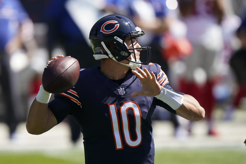 Chicago Bears quarterback Mitchell Trubisky led his team to a 2-0 start. (AP Photo/Nam Y. Huh)