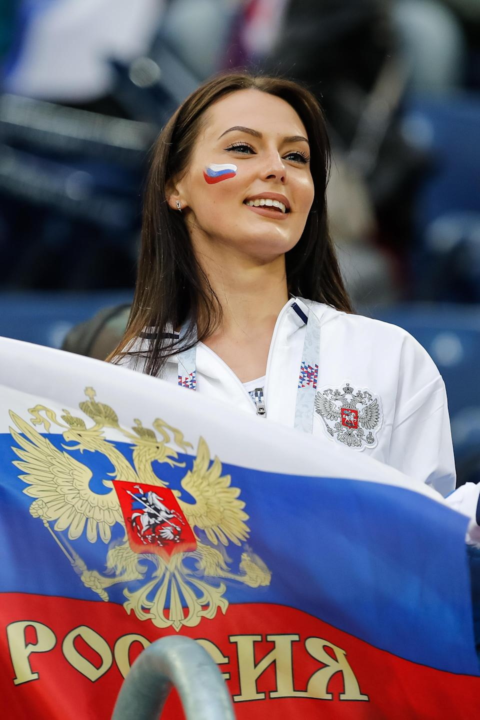 <p>Russia supporter during the 2018 FIFA World Cup Russia group A match between Russia and Egypt on June 19, 2018 at Saint Petersburg Stadium in Saint Petersburg, Russia. (Photo by Mike Kireev/NurPhoto via Getty Images) </p>