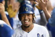 Kansas City Royals' Adalberto Mondesi smiles after hitting a home run against the Boston Red Sox during the third inning of a baseball game in Kansas City, Mo., Friday, June 18, 2021. (AP Photo/Reed Hoffmann)