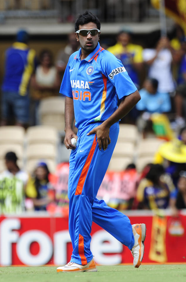 India's Ravichandran Ashwin prepares to bowl against Sri Lanka during their One Day International cricket series match in Adelaide, Australia, Tuesday, Feb. 14, 2012. (AP Photo/David Mariuz)