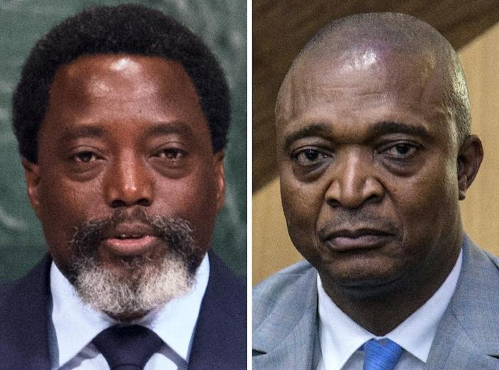 The latest poll put President Joseph Kabila's favourite Emmanuel Ramazani Shadary (R) in third place for the December 23 presidential election in the Democratic Republic of Congo (AFP Photo/Bryan R. Smith, Junior D. KANNAH)