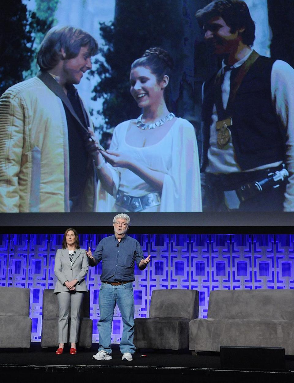 <p>Kathleen Kennedy and George Lucas (Photo: Gerardo Mora/Getty Images) </p>