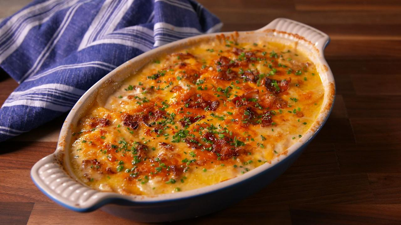 "<p>Scalloped potatoes, as a rule, are saucy and cheesy to the max. There are plenty of ways to spin 'em from there, though. Need even <a rel=""nofollow"">more potato ideas</a>? Try our <a rel=""nofollow"">amazing mashed potato recipes</a>, <a rel=""nofollow"">easy twice baked potatoes</a>, and <a rel=""nofollow"">fun fried potatoes</a>.</p>"
