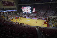 In this photo taken on Wednesday, Feb. 17, 2021, Indiana plays Minnesota at Assembly Hall during the first half of an NCAA college basketball game, in Bloomington, Ind. Assembly Hall is one of six venues hosting NCAA Tournament games later this week. (AP Photo/Darron Cummings)