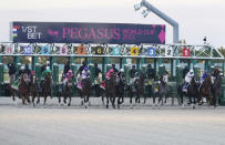 Horses break from the starting gate in the Pegasus World Cup Invitational horse race Saturday, Jan. 23, 2021, at Gulfstream Park in Hallandale Beach, Fla. Knicks Go (4), with jockey Joel Rosario, won the race. (AP Photo/Marta Lavandier)