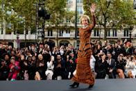 <p><strong>When: Oct. 1, 2017</strong><br>Fonda walks the runway in a fitted leopard print dress during the L'Oreal Paris Spring Summer 2018 show as part of Paris Fashion Week. (<em>Photo: Getty</em>) </p>