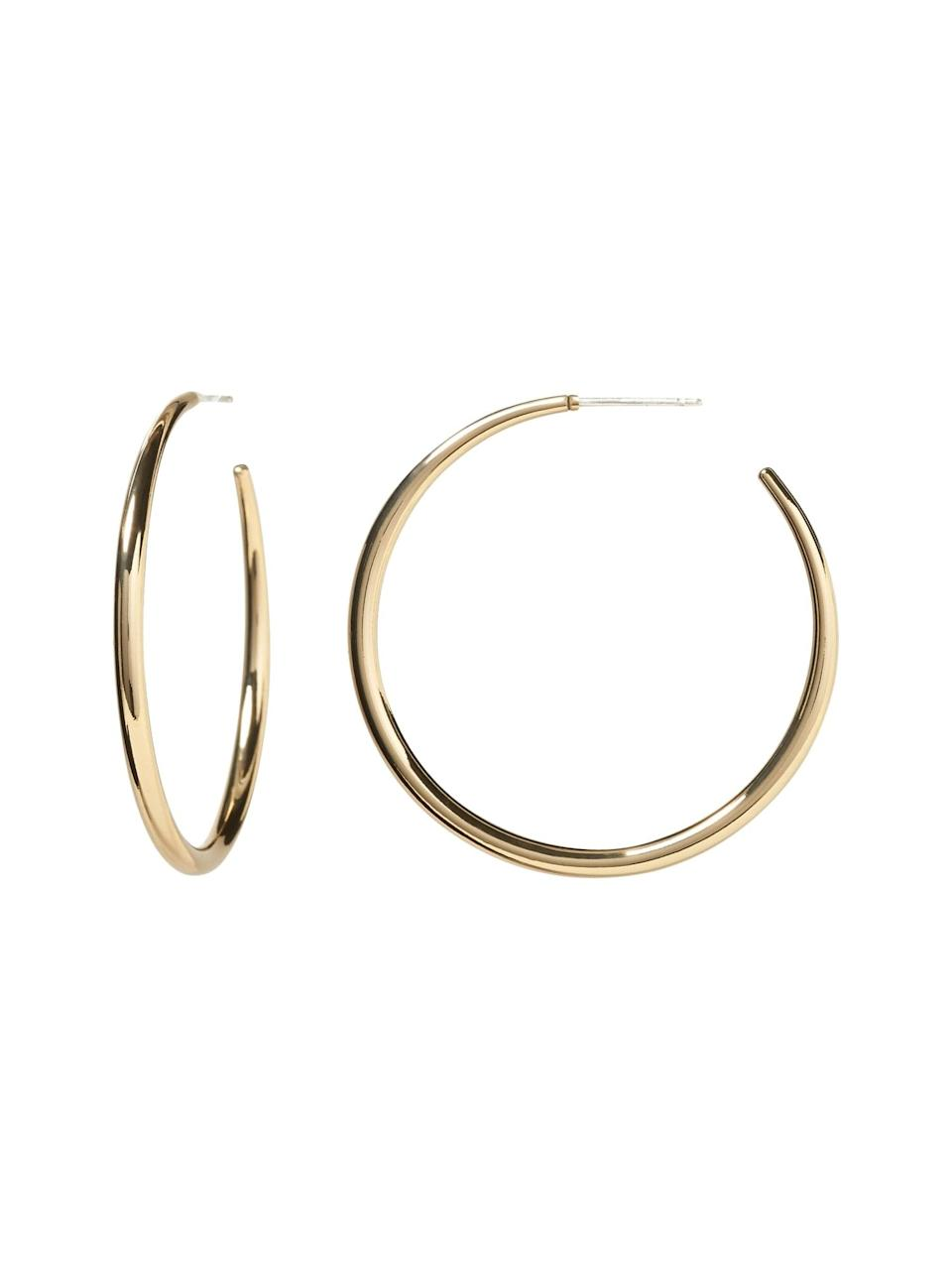 <p>Totally understand is big earrings aren't exactly you think. Even something as simple as these <span>Banana Republic Everyday Hoop Earrings with 10K Gold</span> ($38) can give a little glint in your eyeline.</p>