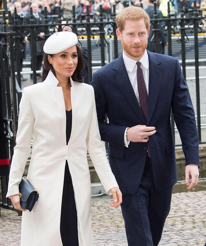 """<p>Harry and Meghan are as chic as can be as they arrive for Commonwealth Day service at Westminster Abbey in London. <a href=""""https://www.cosmopolitan.com/entertainment/celebs/a13948689/prince-harry-meghan-markle-royal-wedding-details/"""" rel=""""nofollow noopener"""" target=""""_blank"""" data-ylk=""""slk:Earlier in the month"""" class=""""link rapid-noclick-resp"""">Earlier in the month</a>, Kensington Palace announced that in addition to the official guest list, the engaged couple invited more than 2,600 members of the public to the grounds of Windsor Castle to watch their arrivals and the carriage procession.</p>"""