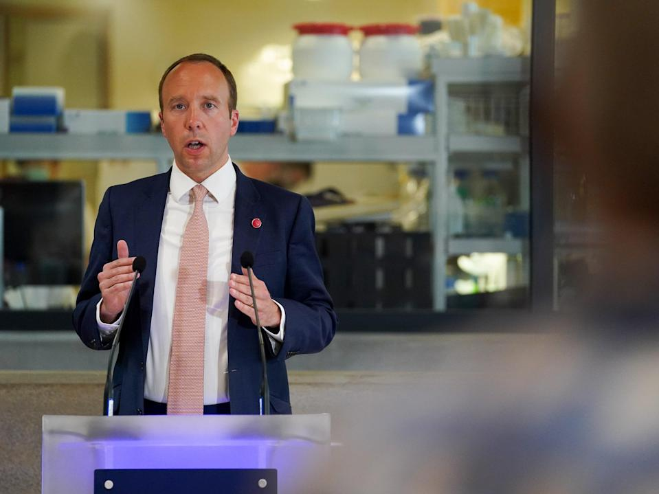 <p>Health secretary Matt Hancock delivered a speech at the Jenner Institute in Oxford on Wednesday afternoon</p> (Getty)