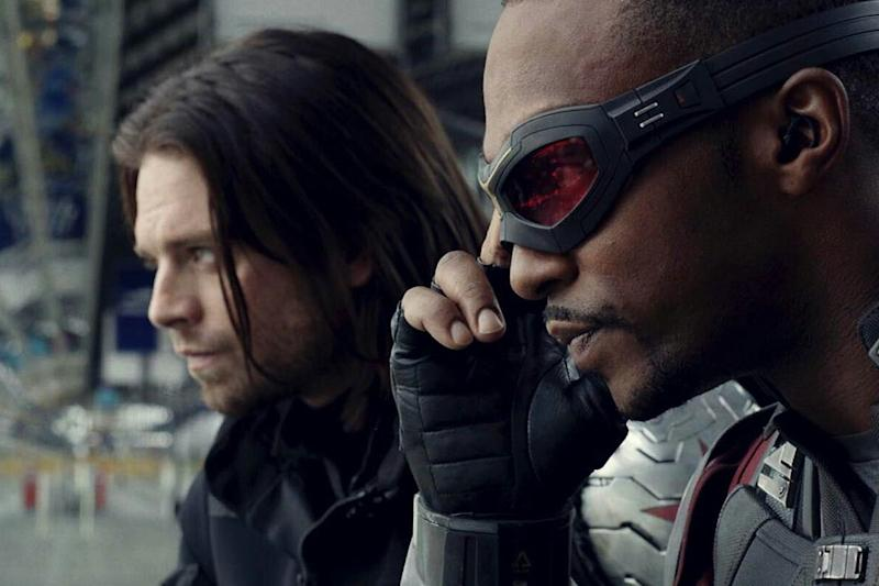 Sebastian Stan's Bucky Barnes and Anthony Mackie as Falcon (Credit: Disney)
