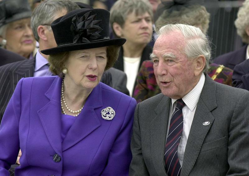 FILE - In this June 2002 file photo, Baroness Margaret Thatcher talks to Sir Rex Hunt in London. The Falkland Islands government says Monday Nov. 12, 2012 that Sir Rex Hunt, who was governor of the islands at the time of the Argentine invasion in 1982, has died at age 86 John Stillwell, file) UNITED KINGDOM OUT  NO SALES  NO ARCHIVE