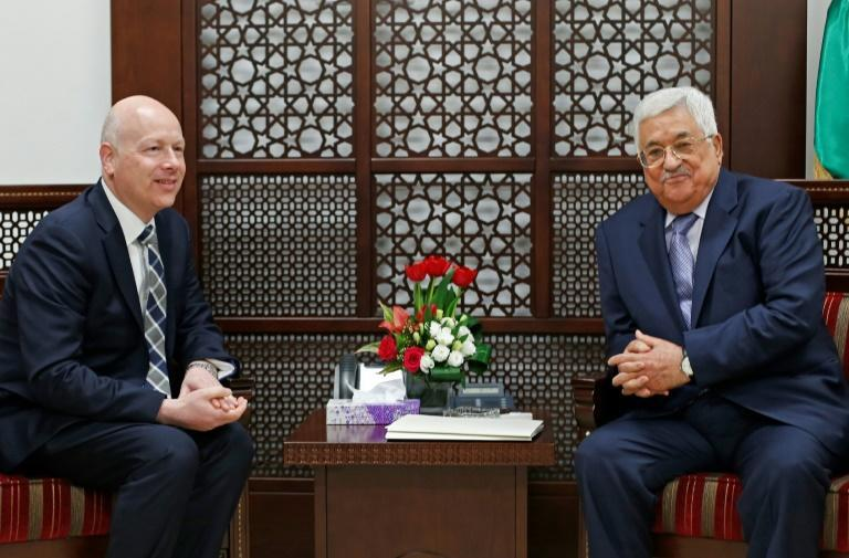 Palestinian president Mahmoud Abbas meets Jason Greenblatt, the US president's special representative for international negotiations, at his office in Ramallah on March 14, 2017