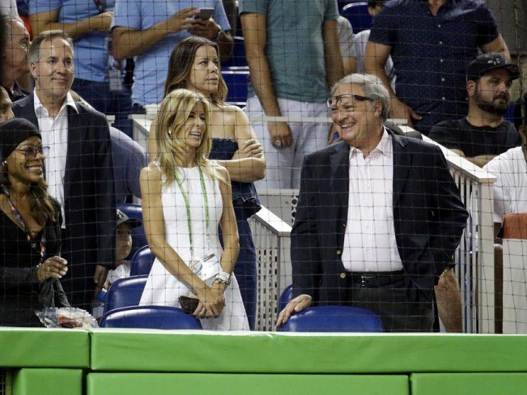 Miami businessman Jorge Mas (left) spent the All-Star Game with Marlins owner Jeffrey Loria. (AP)