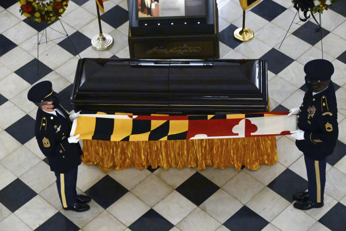 The Maryland National Guard Honor Guard holds the Maryland flag on the casket of Maryland Senate President Emeritus Thomas V. Mike Miller under the dome of the State House in Annapolis, Md., Thursday, Jan. 21, 2021. (Kim Hairston/The Baltimore Sun via AP, Pool)