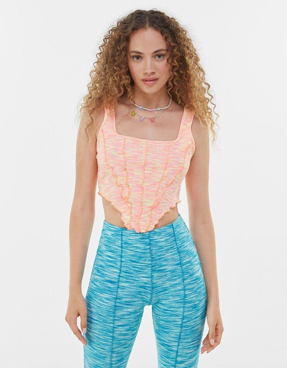 """<p><strong>Bershka</strong></p><p>bershka.com</p><p><strong>$19.90</strong></p><p><a href=""""https://go.redirectingat.com?id=74968X1596630&url=https%3A%2F%2Fwww.bershka.com%2Fus%2Fwomen%2Fclothes%2Ftees-and-tops%2Fstrappy-top-with-wavy-hems-c1010193217p102880164.html%3FcolorId%3D617&sref=https%3A%2F%2Fwww.seventeen.com%2Ffashion%2Ftrends%2Fg31932109%2Fbest-teen-stores%2F"""" rel=""""nofollow noopener"""" target=""""_blank"""" data-ylk=""""slk:Shop Now"""" class=""""link rapid-noclick-resp"""">Shop Now</a></p><p><a href=""""https://go.redirectingat.com?id=74968X1596630&url=https%3A%2F%2Fwww.bershka.com%2Fus%2Fwomen-c1010193132.html&sref=https%3A%2F%2Fwww.seventeen.com%2Ffashion%2Ftrends%2Fg31932109%2Fbest-teen-stores%2F"""" rel=""""nofollow noopener"""" target=""""_blank"""" data-ylk=""""slk:Bershka"""" class=""""link rapid-noclick-resp"""">Bershka</a> is the mecca of cool-girl sh*t, with trending styles for e-girls, VSCO girls, and soft girls alike. As Zara's younger and cheaper sister, you can trust that their latest offerings will always be on point. </p>"""