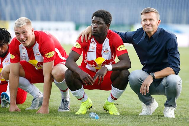 Jesse Marsch (R) and Red Bull Salzburg are off to a record-setting 7-0 start in the Austrian Bundesliga. (Johannes Schedl/Getty)