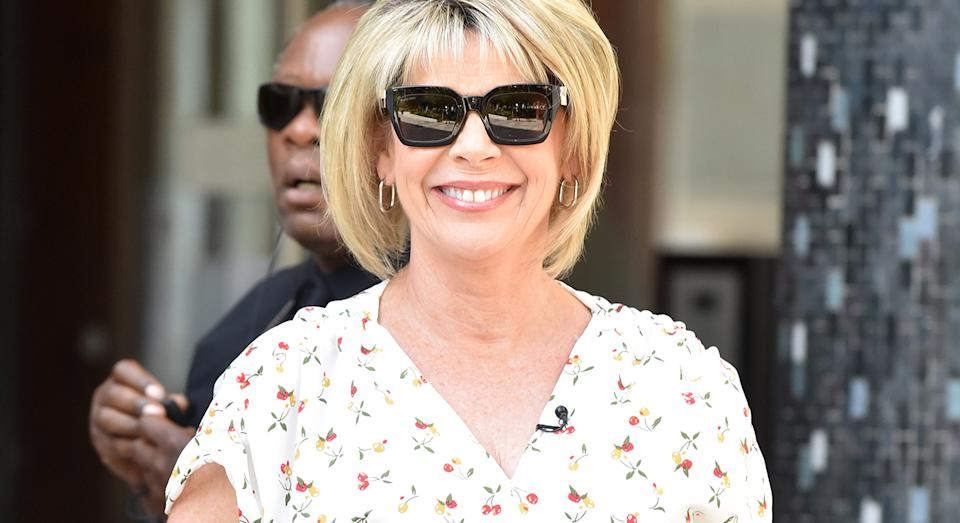 Take a leaf out of Ruth Langsford's style book as she wore a printed shirt dress to host 'Loose Women'.  (Getty Images)