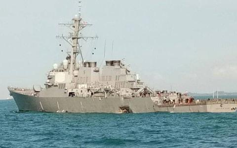 Malaysia's Navy chief tweeted a picture of the damaged USS John S McCain - Credit: @mykamarul/Twitter