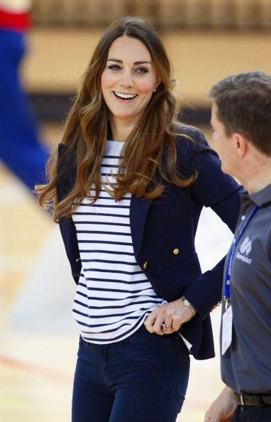 <p>This striped top is about as close to casual as Kate usually gets, and she wore this outfit (which she paired with wedge heels, btw) to play volleyball while at a SportsAid Athlete Workshop in 2013. </p>