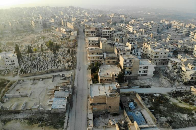 A drone picture taken on December 23, 2019 shows empty streets and damaged buildings in the town of Maaret Al-Numan in the northwestern Idlib province (AFP Photo/Omar HAJ KADOUR)