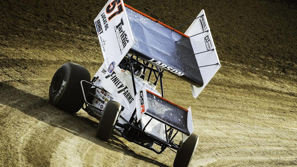 <em>Kyle Larson races his No. 57 at I-55 (Jimmy Dearing/World of Outlaws).</em>